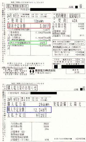 検針票 9月分(高橋邸)