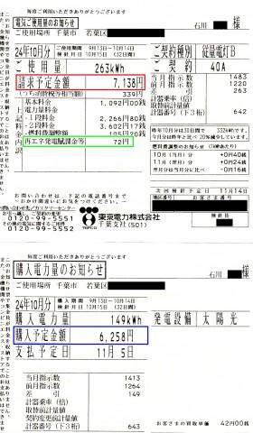 検針票(石川邸)10月分