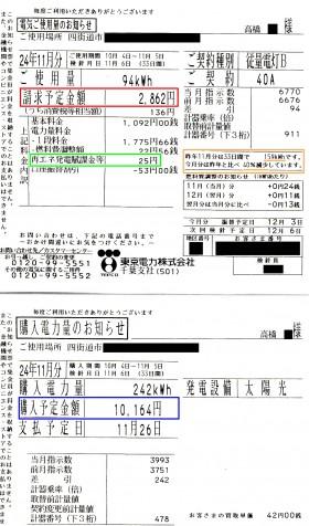 検針票H24.11(高橋邸)